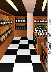A vector illustration of wine section in a store