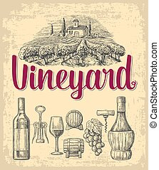 Wine set. Bottle, glass, corkscrew, barrel, bunch of grapes, vineyard. Black vintage engraved vector illustration isolated on white background.