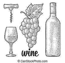Wine set. Bottle, glass, corkscrew, bunch of grapes....