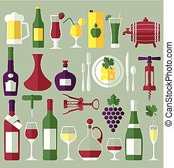 Wine set flat icons