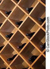 wine. shelf with bottles