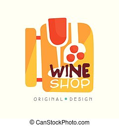 Wine shop logo design template, winery store, vineyard badge vector Illustration on a white background