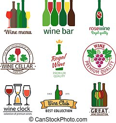 Wine shop logos set