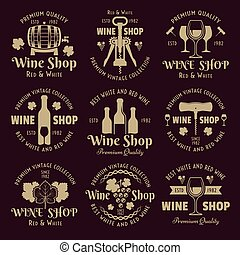 Wine shop vintage vector emblems, labels, badges