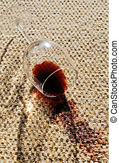 Wine spill on a wool carpet