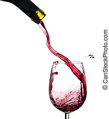 Wine splash on a glass, white background.