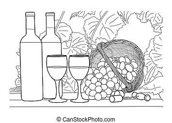 Wine still life. Hand drawn vector illustration.