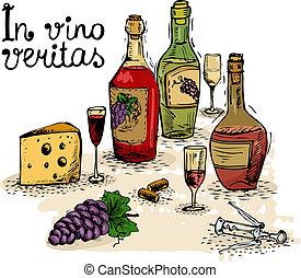 In vino veritas, wine still life isolated vector illustration