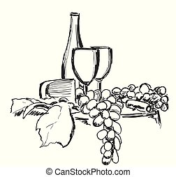 Wine still life Isolated on white background. Hand drawn vector illustration. Sketching