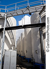 Wine Storage - Tanks of wine at a California winery