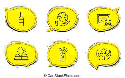 Wine, Sun energy and Water glass icons set. Ranking sign. ...