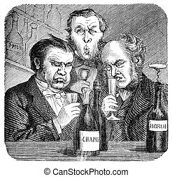 Wine Tasting - 19th century wine snobs.. Engraving by...