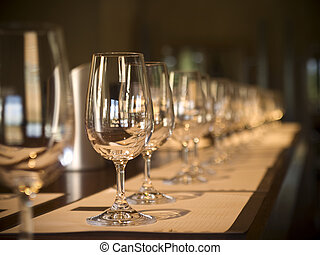 Wine tasting - A long row of empty glasses before the wine...