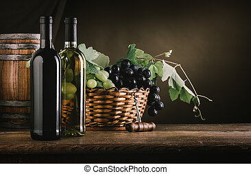 Wine tasting and fruit still life