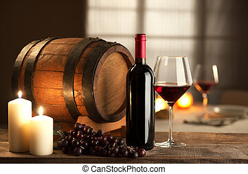 Wine tasting at restaurant - Bottle, glass, grape and barrel...