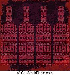 Wine tasting card, four bottles of