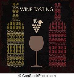 Wine tasting card, two bottles of wine