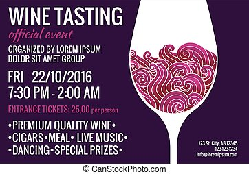 Wine tasting flyer - Wine tasting party flyer. Stylized...