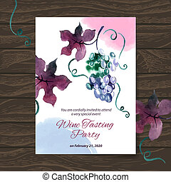 Wine tasting party card. Vector design with watercolor...