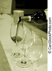 Wine tasting - Red wine pouring