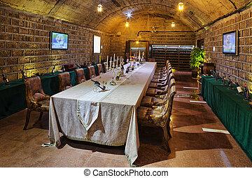 wine tasting room in basement