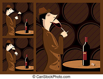 The three steps in tasting a wine barrel cellar with a wine cellar as a stage. The three steps are sight, smell and taste.