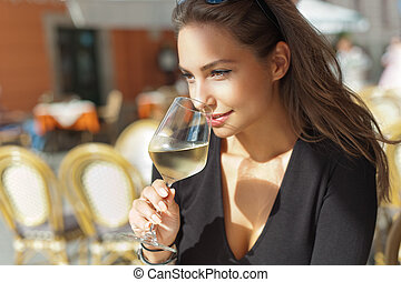 Wine tasting tourist woman. - Outdoors portrait of a ...