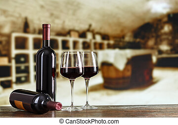 Wine tasting. Wine cellar with wine bottle and glasses.with space for text