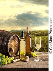 Wine tasting with vineyard background