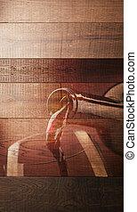 Wine tasting wooden background