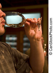 Wine testing - Customer testing wine in the winery