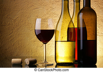 Wine-testing - Still-life with three wine bottles and glass...