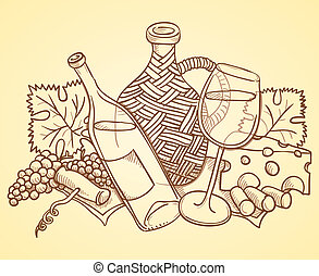 Wine Themed Drawing - Illustration of cheese bottle glass...
