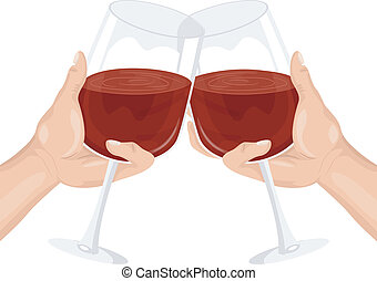 Wine Toast - Illustration of Two Persons Clinking their Wine...