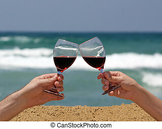 Wine toast on the beach