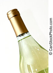 Top half of a bottle of wine isolated against a white background