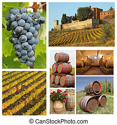 wine tradition collage, Chianti, Tuscany, Italy, Europe