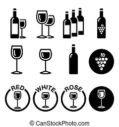 Wine types - red, white, rose icons