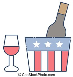 Wine vector, United state independence day related icon
