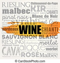 WINE VARIETALS Types word cloud collage, concept background
