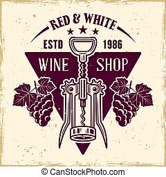 Wine vector emblem in vintage style with corkscrew