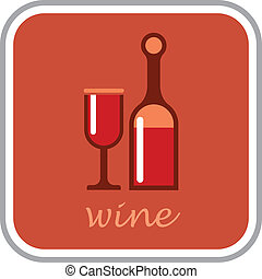 Wine - vector icon - Bottle of wine and glass - isolated...