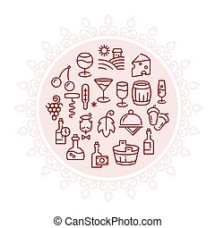 Wine vector logo with linear icons in circle design