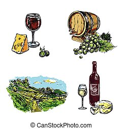 Wine Vineyard Icon Set