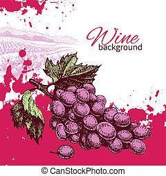 Wine vintage background. Hand drawn illustration