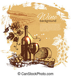 Wine vintage background. Hand drawn illustration. Splash ...