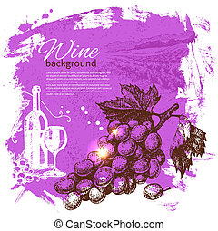 Wine vintage background. Hand drawn illustration. Splash blob retro design