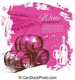 Wine vintage background. Hand drawn illustration. Splash...