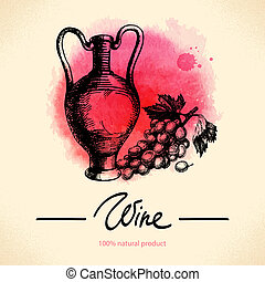 Wine vintage background. Watercolor hand drawn sketch illustration. Menu design
