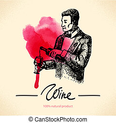 Wine vintage background. Watercolor hand drawn sketch illustration. Menu design